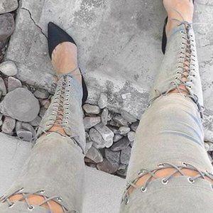 Pants - GRAY SUEDE PANTS